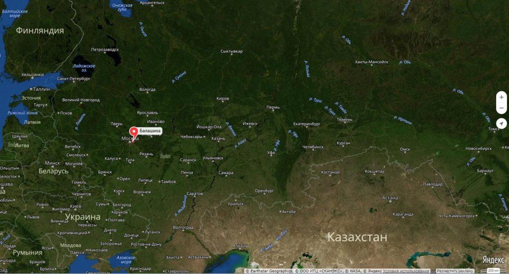 Балашиха на карте России