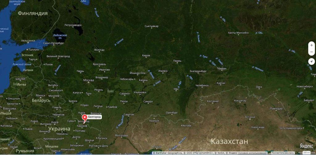 Белгород на карте России