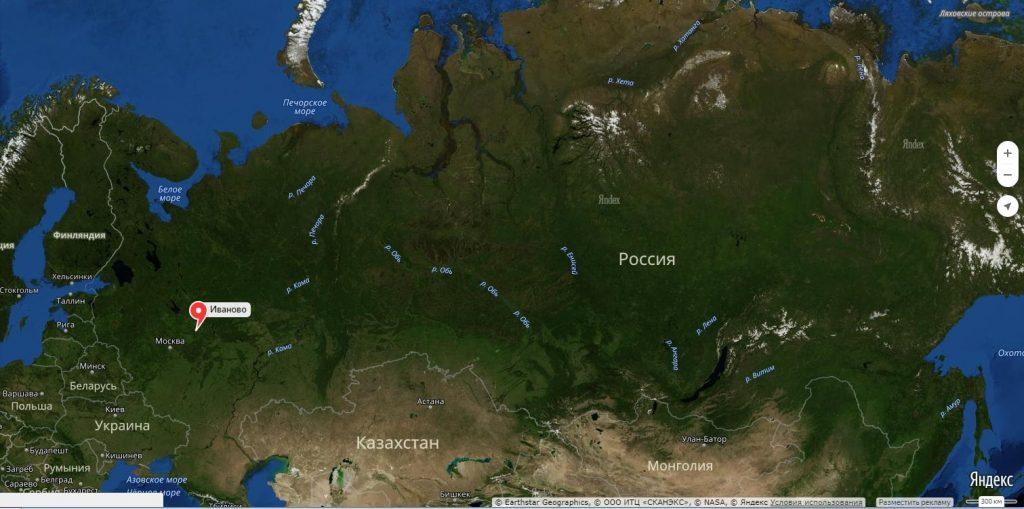 Иваново на карте России