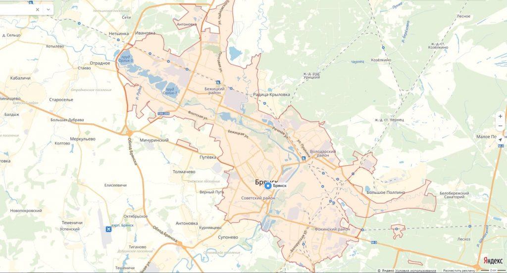 Карта Брянска с районами