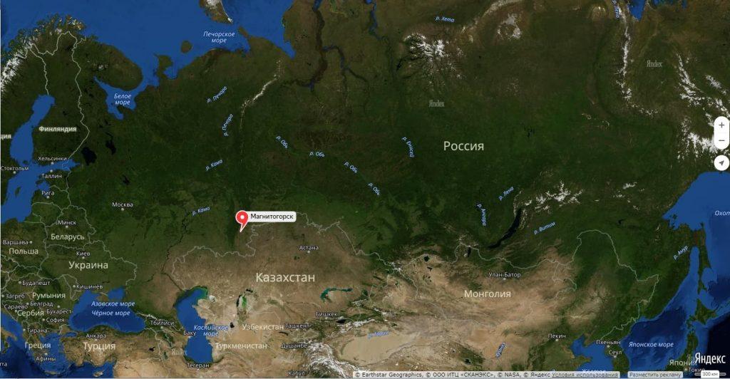 Магнитогорск на карте России