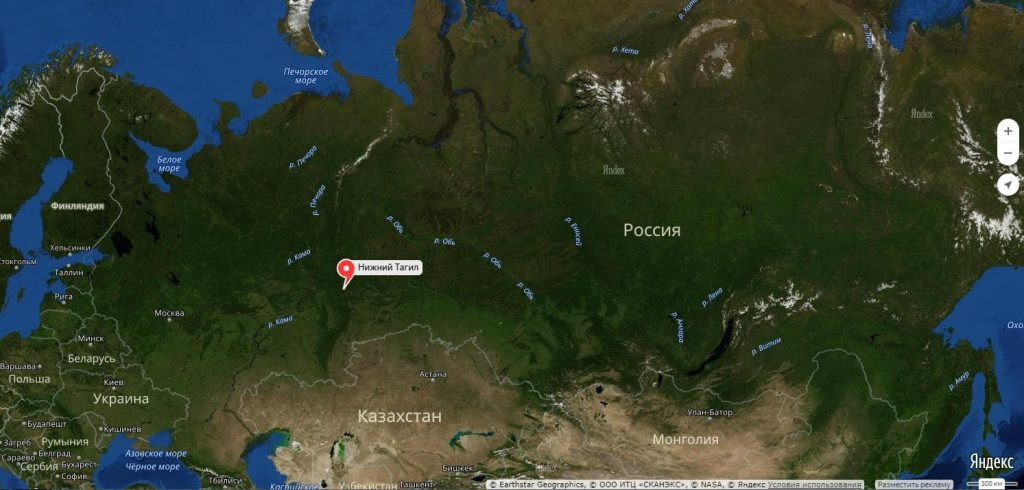 Нижний Тагил на карте России