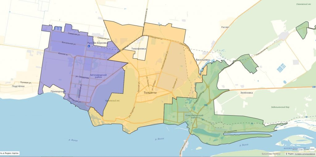 Районы города Тольятти на карте