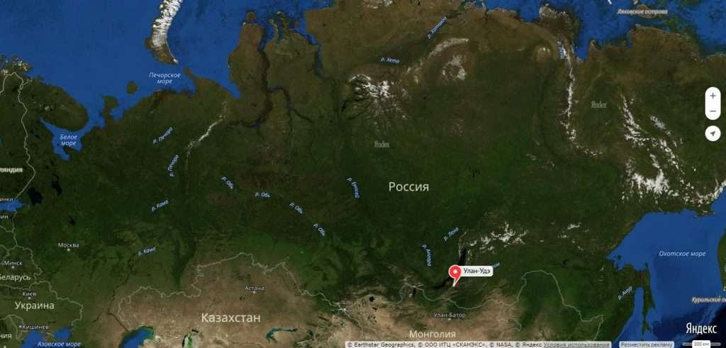 Улан-Удэ на карте России
