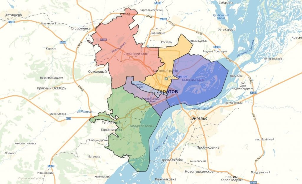 карта Саратова с районами