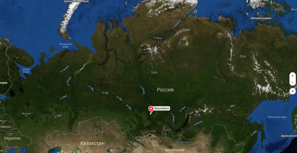 Красноярск на карте россии с городами