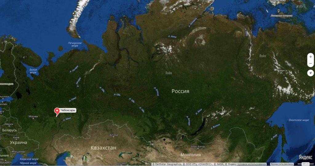 Чебоксары на карте России