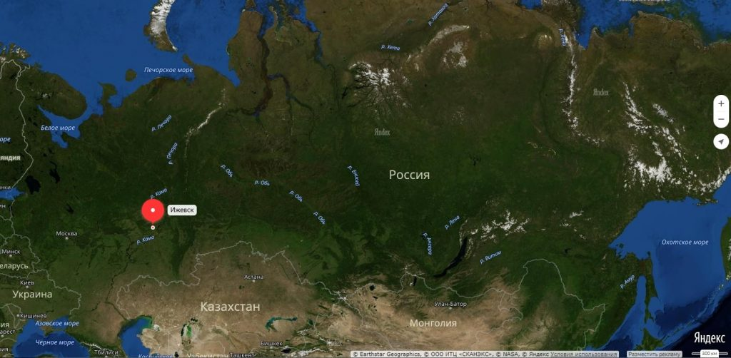 Ижевск на карте России