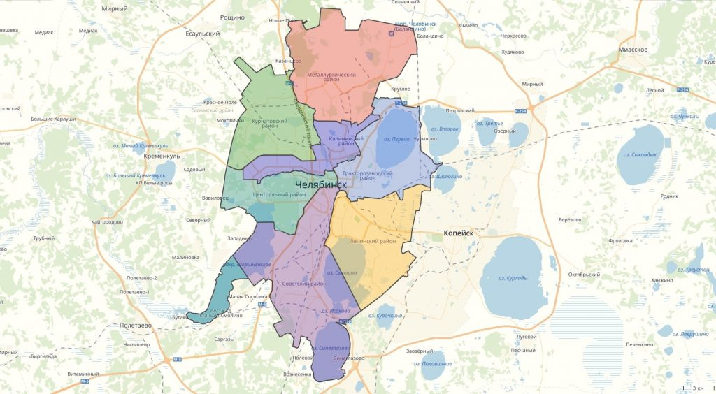 Карта Челябинска с районами