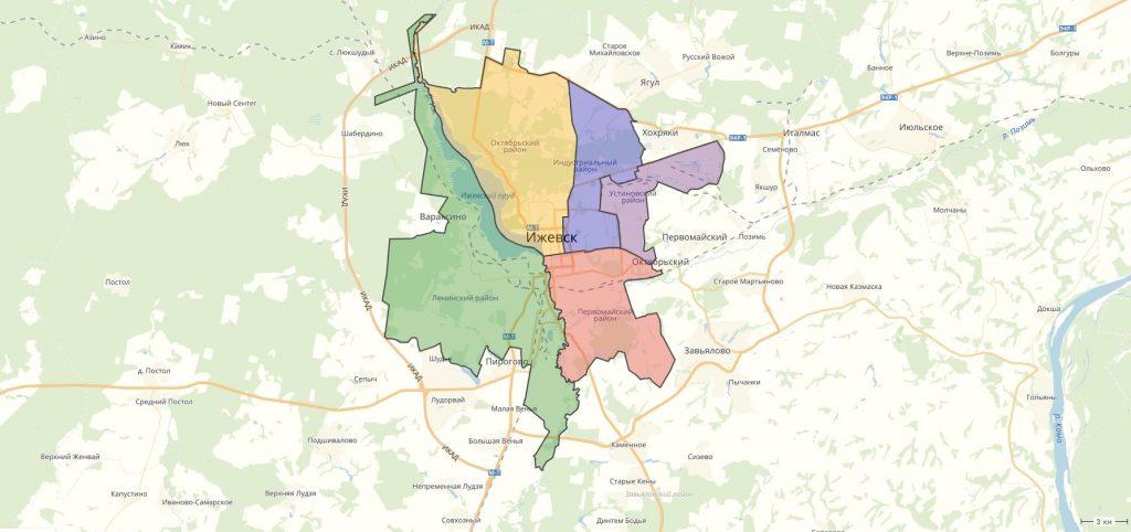 Карта Ижевска с районами