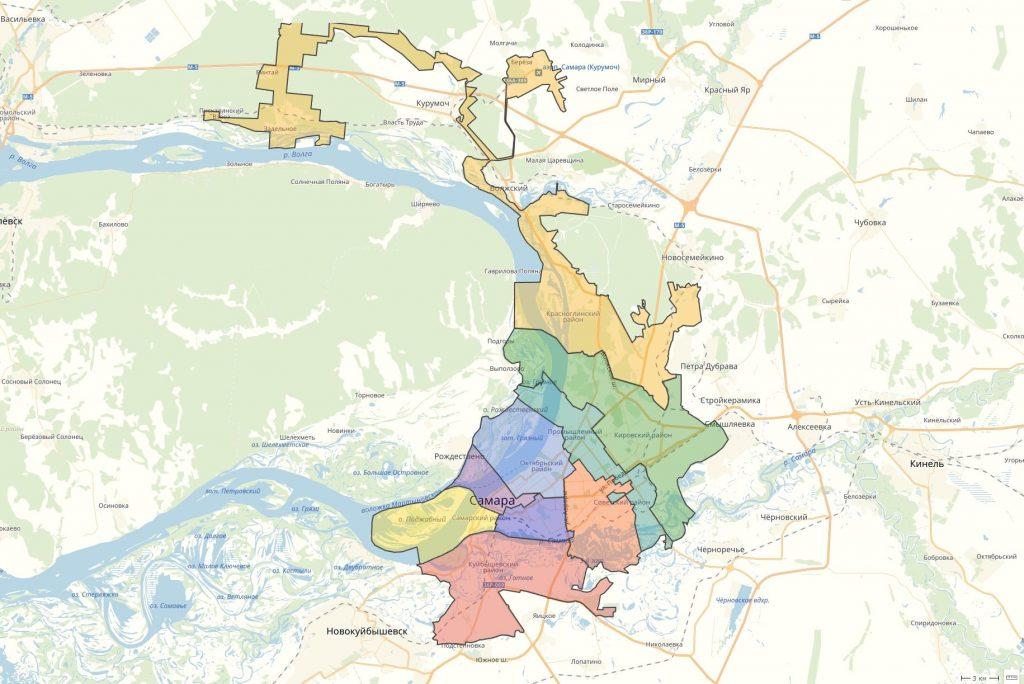 Карта Самары с районами