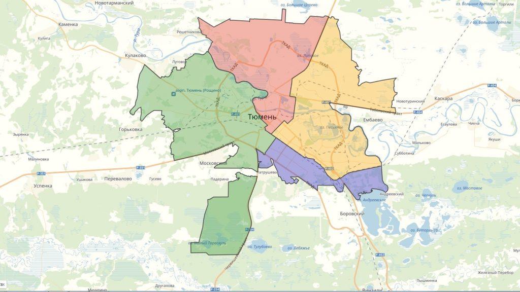 Карта Тюмени с районами