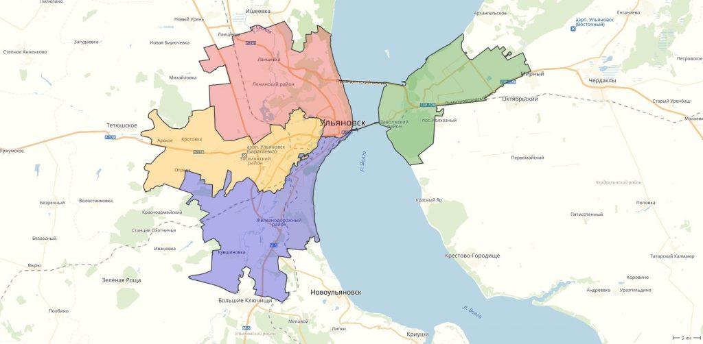 Карта Ульяновска с районами