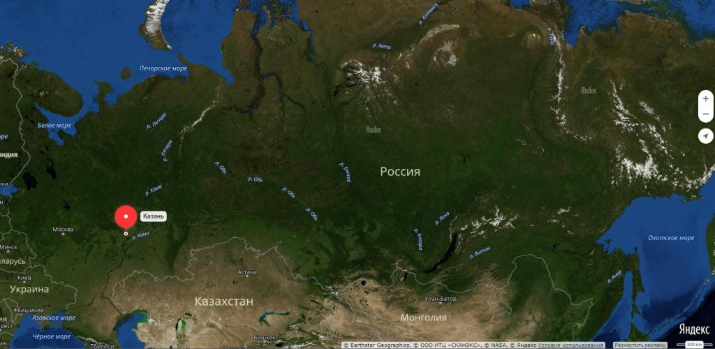 Казань на карте России