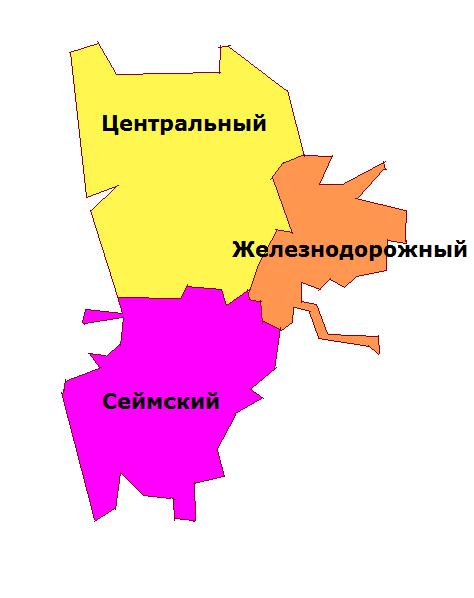 Районы Курска на карте