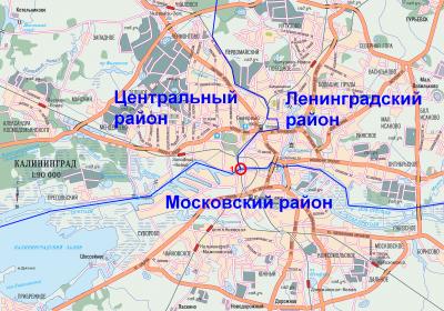 Районы Калининграда на карте