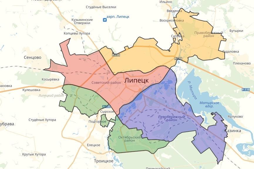 Районы Липецка на карте