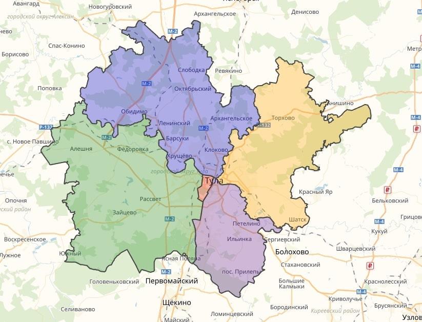 Районы Тулы на карте