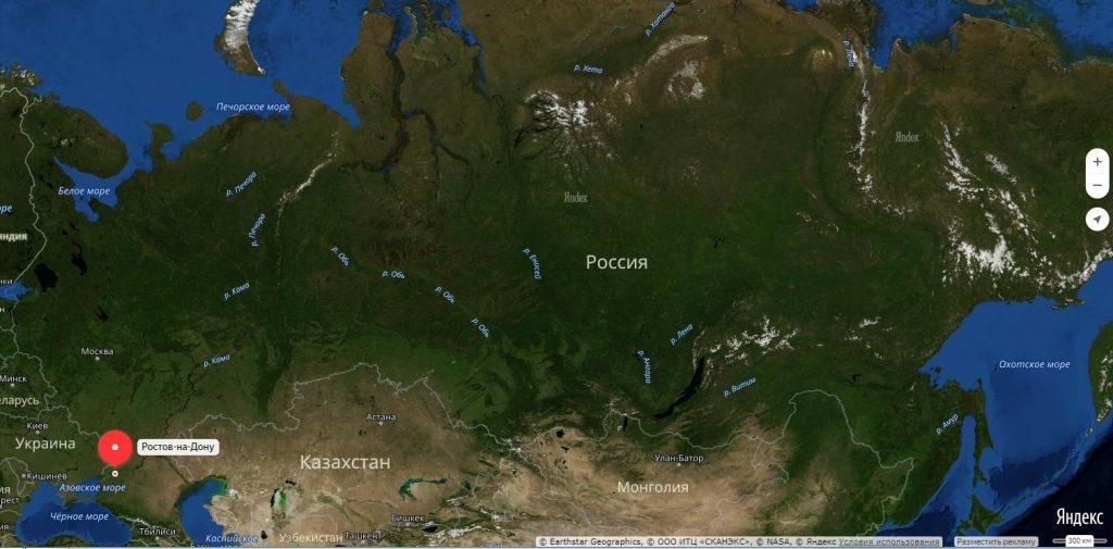 Ростов на Дону на карте России