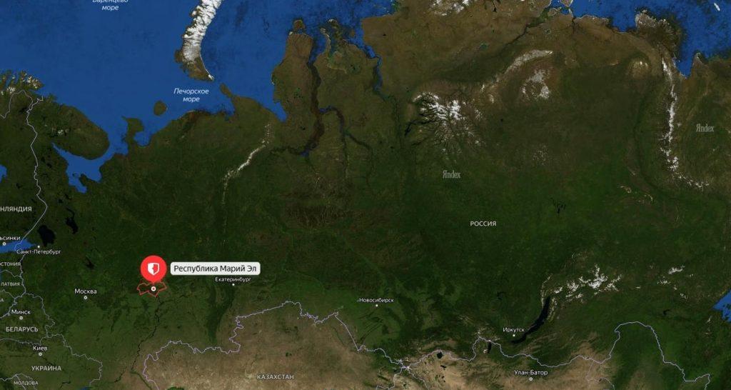 Марий Эл на карте России